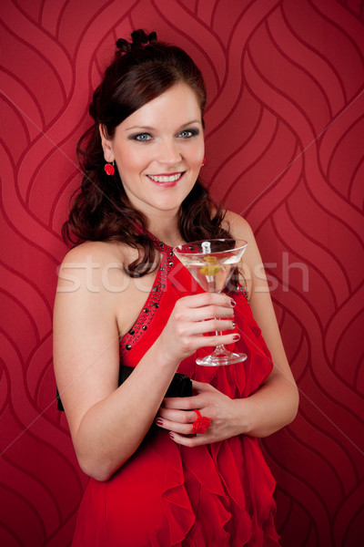 カクテルパーティー 女性 イブニングドレス 楽しむ ドリンク 赤 ストックフォト © CandyboxPhoto