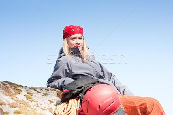 Tätig Frau Klettern entspannen Rucksack Stock foto © CandyboxPhoto