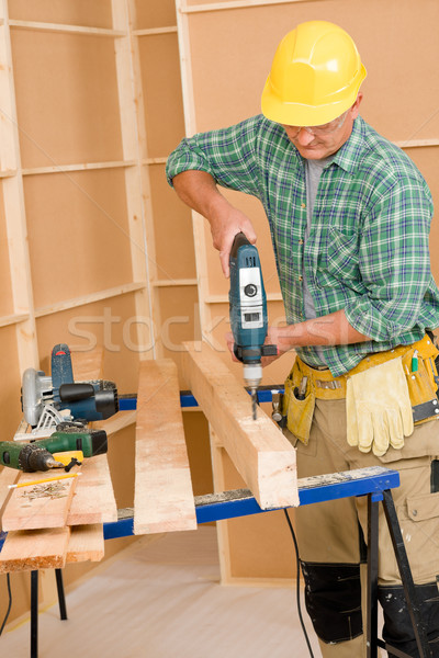 Handyman home improvement drilling wood Stock photo © CandyboxPhoto