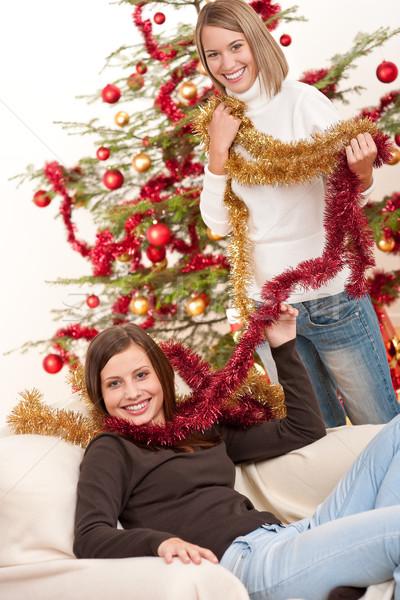 Сток-фото: два · Рождества · украшение · дерево