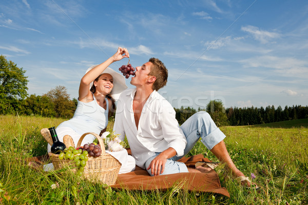 Picnic - Romantic couple in spring nature Stock photo © CandyboxPhoto