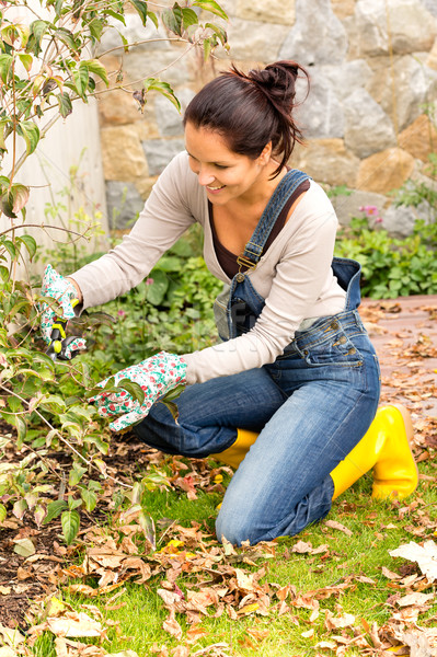 Happy woman gardening bush backyard hobby kneeling Stock photo © CandyboxPhoto