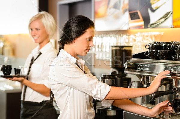 Staff at cafe making coffee espresso machine Stock photo © CandyboxPhoto