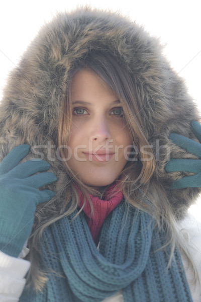 Winter Mode Frau neblig Tag Fell Stock foto © CandyboxPhoto