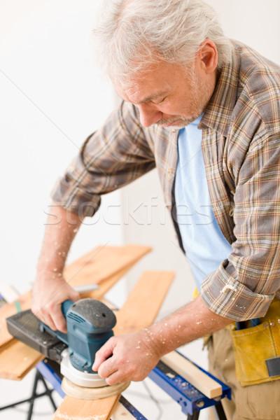 Lakásfelújítás ezermester fapadló műhely fa belső Stock fotó © CandyboxPhoto