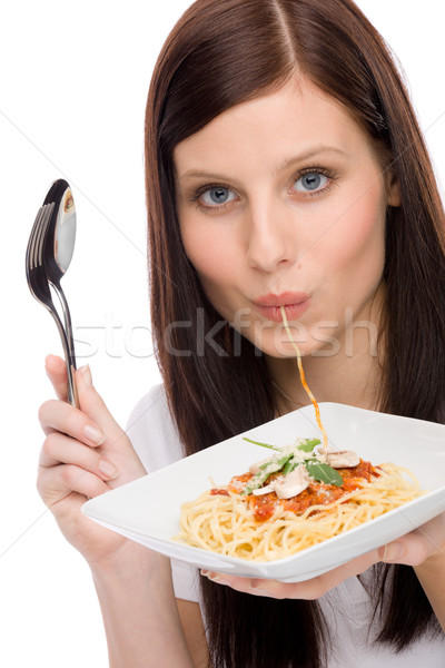 Italian food - portrait woman eat spaghetti sauce Stock photo © CandyboxPhoto