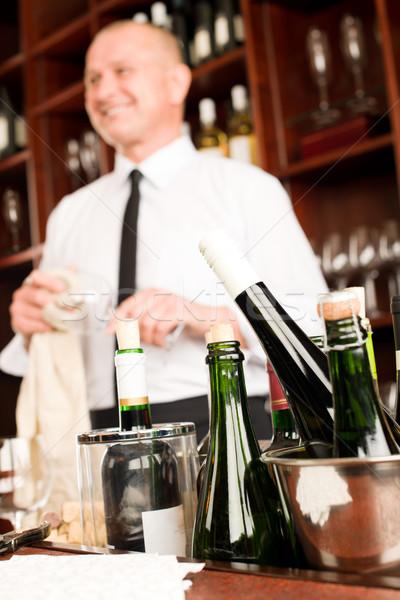 Wine bar bottles waiter in restaurant Stock photo © CandyboxPhoto