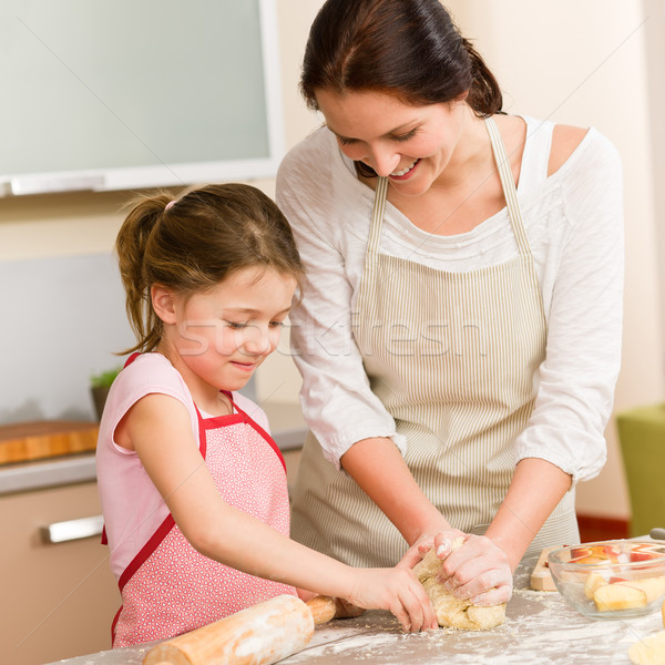 Mother and daughter prepare dough home cake Stock photo © CandyboxPhoto