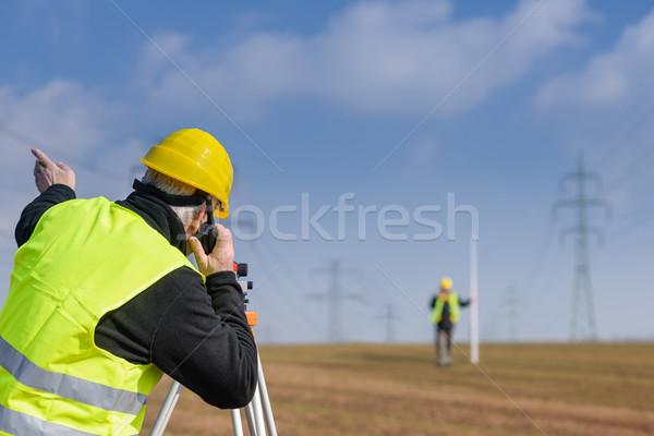 Geodesist measure land speak transmitter  Stock photo © CandyboxPhoto
