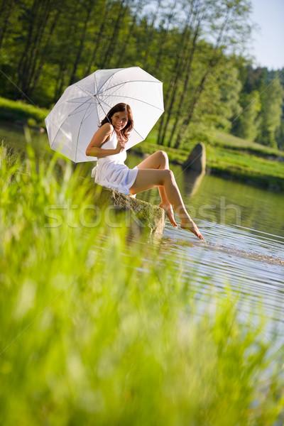 幸せ ロマンチックな 女性 座って 湖 ストックフォト © CandyboxPhoto
