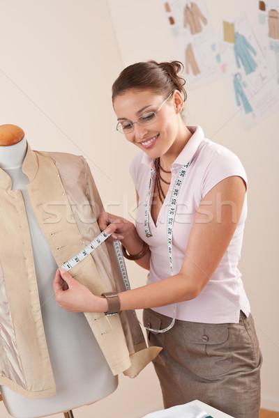 Női divat designer elvesz mérés kabát Stock fotó © CandyboxPhoto