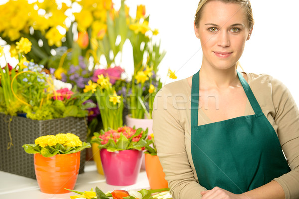 Florist with spring potted flowers Stock photo © CandyboxPhoto