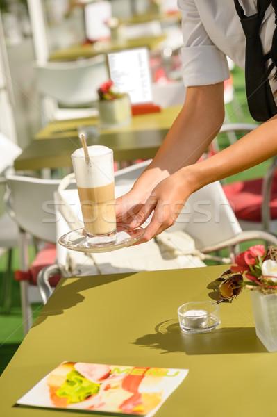 Waitress hands close up serving latte cafe Stock photo © CandyboxPhoto