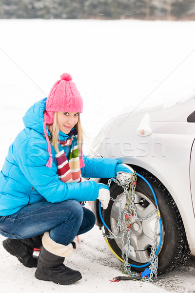 Snow tire chains winter car woman trouble Stock photo © CandyboxPhoto