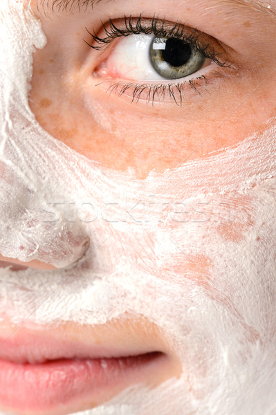 Smiling girl moisturizer facial face mask eye Stock photo © CandyboxPhoto