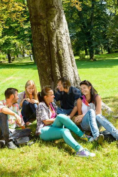 Students sitting in park talking smiling teens Stock photo © CandyboxPhoto