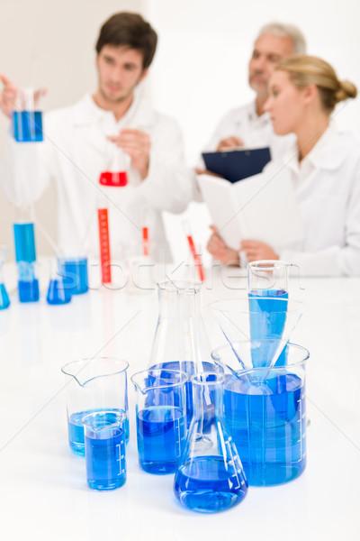 лаборатория химический стакан синий жидкость студент Сток-фото © CandyboxPhoto