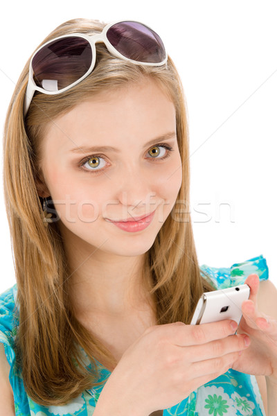 Teenager woman with mobile phone in summer Stock photo © CandyboxPhoto