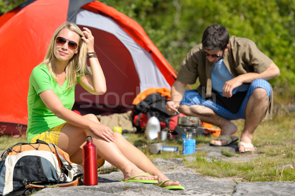 Camping young couple with tent cook countryside Stock photo © CandyboxPhoto