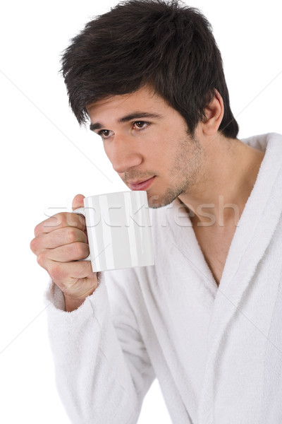 Morning - Young man in bathrobe with cup of coffee Stock photo © CandyboxPhoto