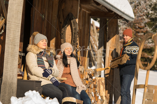 Jovens inverno casa de campo ensolarado Foto stock © CandyboxPhoto