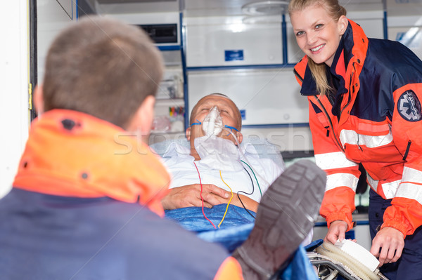 Patient in ambulance car with paramedics rescue Stock photo © CandyboxPhoto