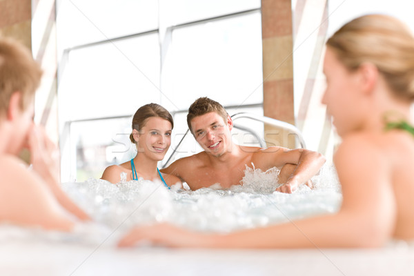 Swimming pool - happy couple relax in hot tub Stock photo © CandyboxPhoto