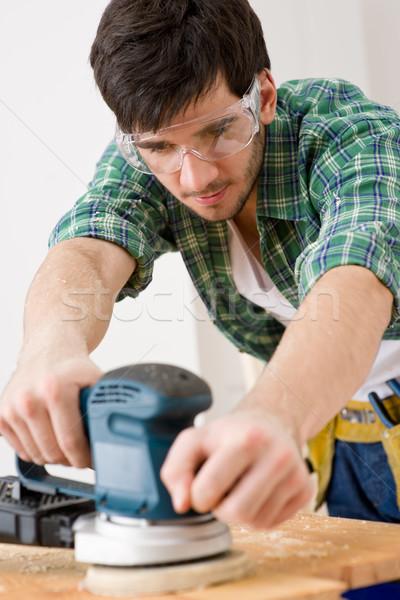 Foto stock: Melhoramento · da · casa · handyman · oficina · tabela · interior