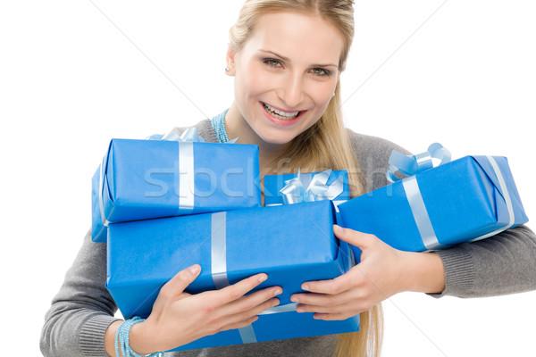 настоящее женщину празднования подарок счастливым Сток-фото © CandyboxPhoto
