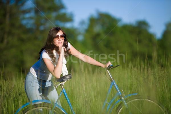 Nő bicikli nyár legelő napos idő fa Stock fotó © CandyboxPhoto