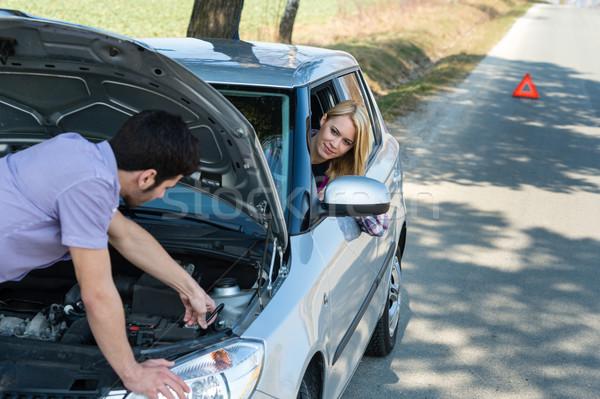 Autó pár kábelek jármű törött út Stock fotó © CandyboxPhoto