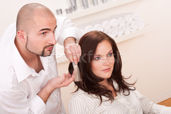 Professional hairdresser choose hair dye color at salon Stock photo © CandyboxPhoto