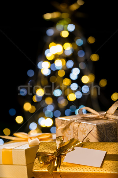 Kerstboom presenteert label christmas geschenk goud Stockfoto © CandyboxPhoto