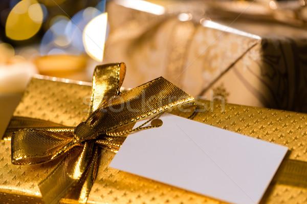 Noel hediyeler etiket özel gün ışık Stok fotoğraf © CandyboxPhoto