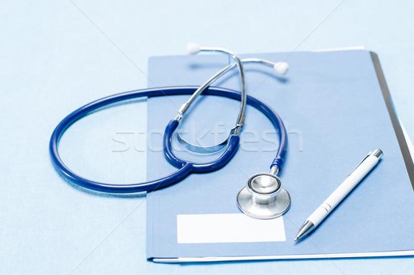 Estetoscópio caneta médico traçar paciente azul Foto stock © CandyboxPhoto