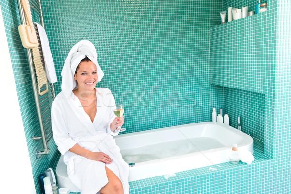 Boldog nő megnyugtató fürdőszoba fürdő jólét Stock fotó © CandyboxPhoto