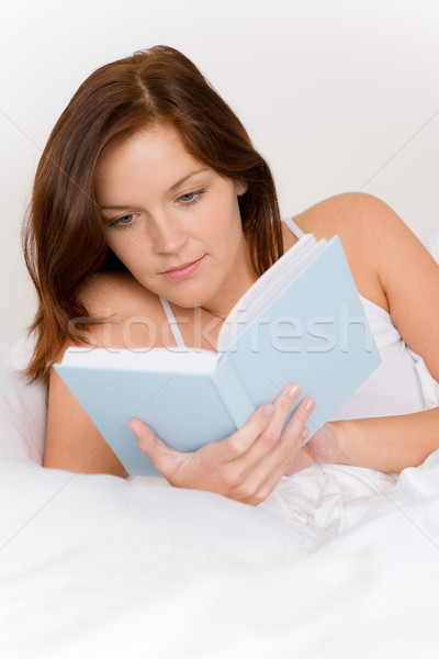 Bedroom - young woman read book Stock photo © CandyboxPhoto