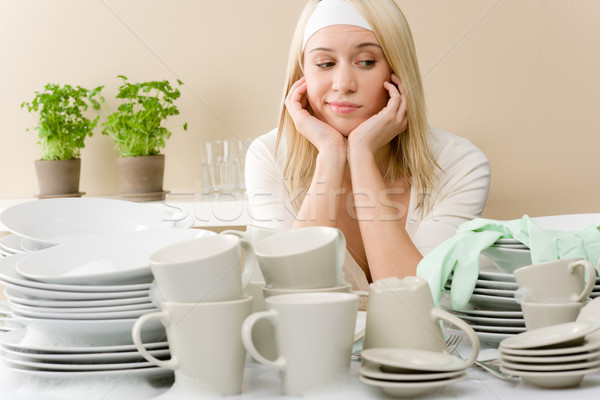 Modern kitchen - frustrated woman in kitchen Stock photo © CandyboxPhoto