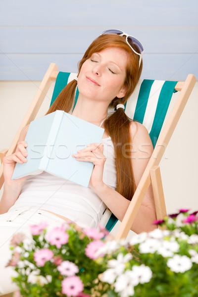 été terrasse femme détendre chaise longue Photo stock © CandyboxPhoto