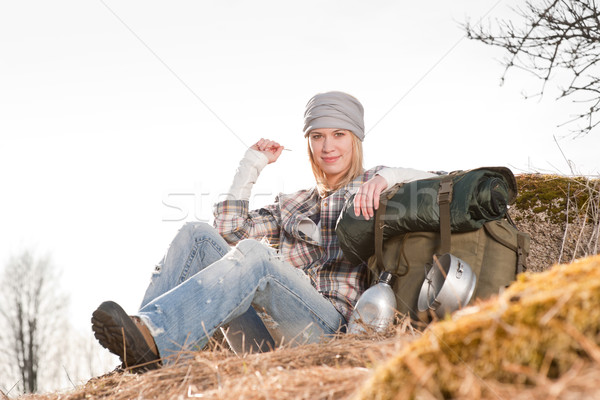Camping young woman in countryside backpack Stock photo © CandyboxPhoto