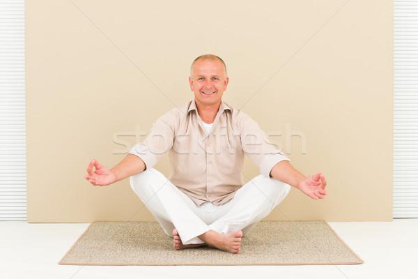 Casual business yoga smiling senior man meditate Stock photo © CandyboxPhoto