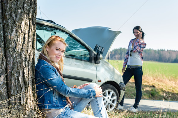 Car defect two women waiting for help Stock photo © CandyboxPhoto