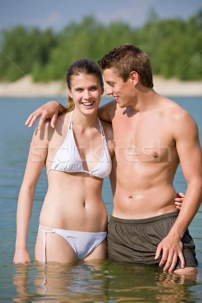 Paar Badebekleidung genießen Wasser Sonne Sommer Stock foto © CandyboxPhoto