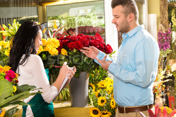 Man customer ordering flowers bouquet flower shop Stock photo © CandyboxPhoto