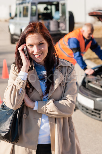 Woman talking on cellphone after car breakdown Stock photo © CandyboxPhoto
