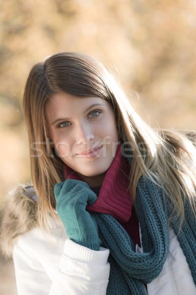 Tél divat nő park kesztyű kívül Stock fotó © CandyboxPhoto