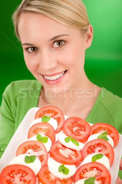 Kadın caprese salatası yeşil mutlu genç Stok fotoğraf © CandyboxPhoto