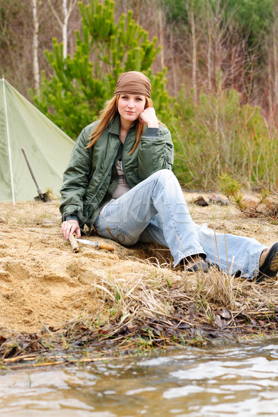 Camping woman tent nature sitting stream Stock photo © CandyboxPhoto