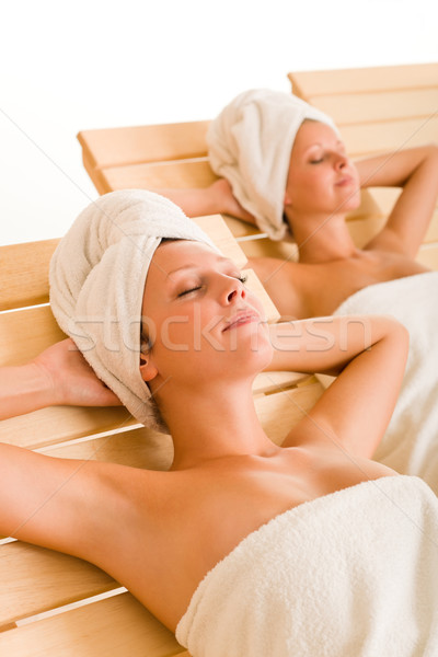 Beauty spa room two women relax sun-beds Stock photo © CandyboxPhoto