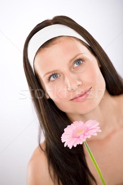 Stockfoto: Mooie · vrouw · daisy · bloem · witte · schoonheid